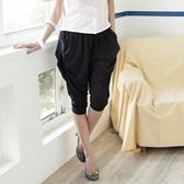 飛鼠褲--萬種風貌垂墜感側邊三釦大口袋棉麻飛鼠褲(黑.灰M-2L)-S25眼圈熊中大尺碼