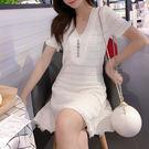 VK精品服飾 韓系小心機V領針織流蘇短袖洋裝