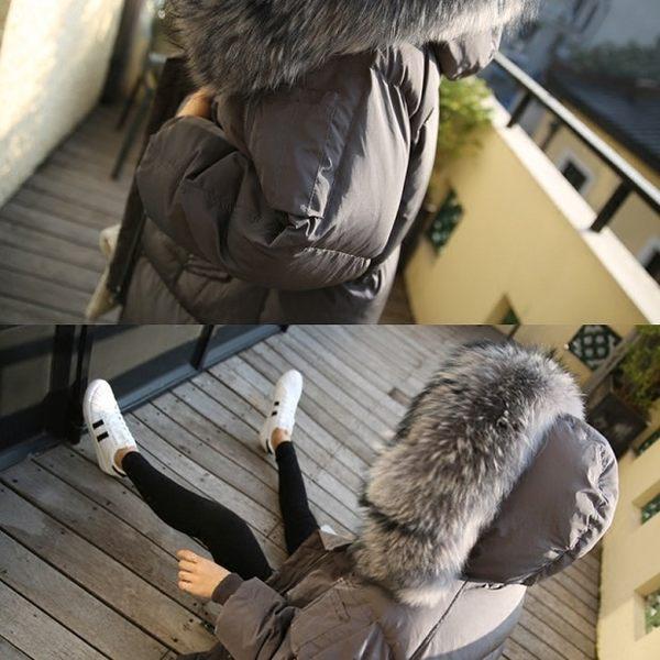 免運★梨卡 - 正韓國空運鋪棉加厚超大毛領超長版仿羽絨寬鬆防風大衣外套A338