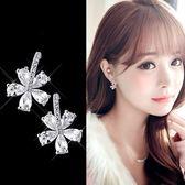 【NiNi Me】韓系耳環 氣質甜美花朵水鑽鋯石花辮925銀針耳環 耳環 N0260