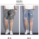 牛仔短褲男潮牌ins五分褲夏季薄款外穿寬松直筒潮流運動5分褲子