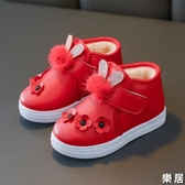 兒童雪地靴 秋冬童鞋女童靴子寶寶棉鞋時裝靴男童短靴皮棉靴防水【快速出貨】