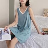 純色棉質無袖女夏寬鬆甜美背心裙中長款睡衣夏季薄款 【Ifashion·全店免運】