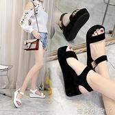 2021新款夏季高跟涼鞋女厚底坡跟韓版魔術貼松糕鞋防水臺露趾女鞋 蘿莉新品