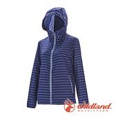 【wildland 荒野】女 麻花條輕量時尚抗UV外套『深藍』0A71909 戶外 休閒 運動 防曬 露營 登山 騎車