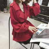 系帶風衣外套 女士短款2019秋新款矮個子修身顯瘦收腰小外套 BF21527『愛尚生活館』