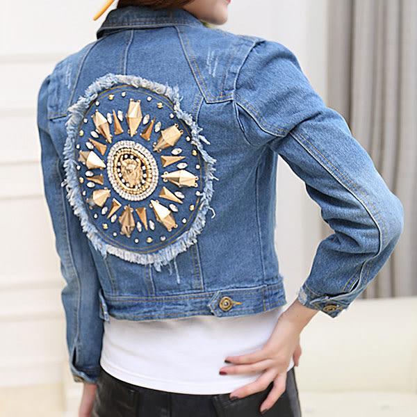 新款巴洛克風 修身短版休閒鑲鑽 磨破牛仔衣夾克 外套  Ct024 ◆ 韓妮小熊