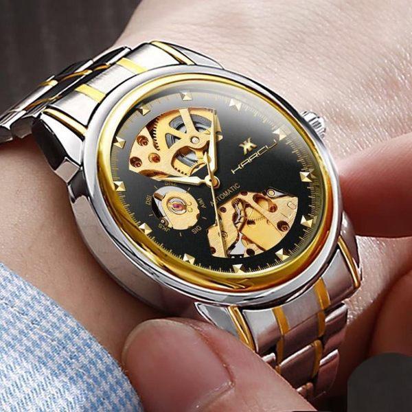 手錶男機械錶全自動鏤空男士商務學生腕錶夜光防水陀飛輪鋼帶男錶