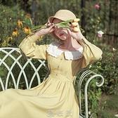 方領雪紡長袖洋裝女2020年秋季新款減齡顯瘦氣質法式小個子裙子 【現貨快出】