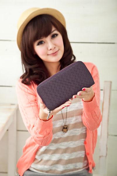 【Miyo皮夾】進口羊皮手工編織拉鍊長夾(深紫色)