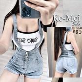 克妹Ke-Mei【AT68254】韓版chic設計風!美背交叉排釦彈力高腰吊帶牛仔褲