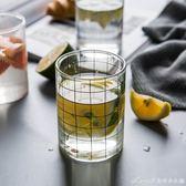 條紋玻璃杯子奶茶杯家用創意果汁玻璃杯水杯咖啡杯啤酒杯艾美時尚衣櫥
