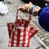 歐美包包2018新款潮牌簡約格子紋百搭托特包大容量手提購物袋 潮人女鞋