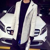西裝外套-秋冬保暖純色百搭羊毛呢長版大衣72p20【巴黎精品】