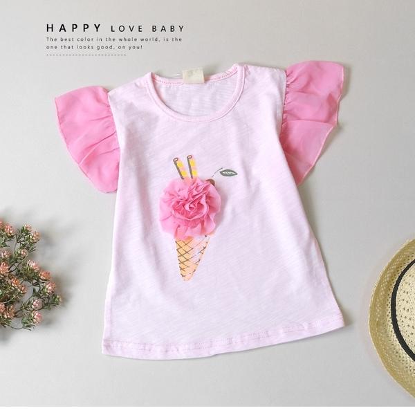 純棉 雪紡玫瑰花冰淇淋上衣 春夏童裝 女童上衣 女童短T 女童棉T 女童短袖 女童T恤
