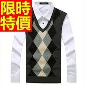 針織背心-時髦自信韓流V領男上衣2色61d42【巴黎精品】