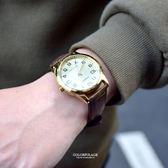 CASIO卡西歐數字金面咖色皮革錶NEC146