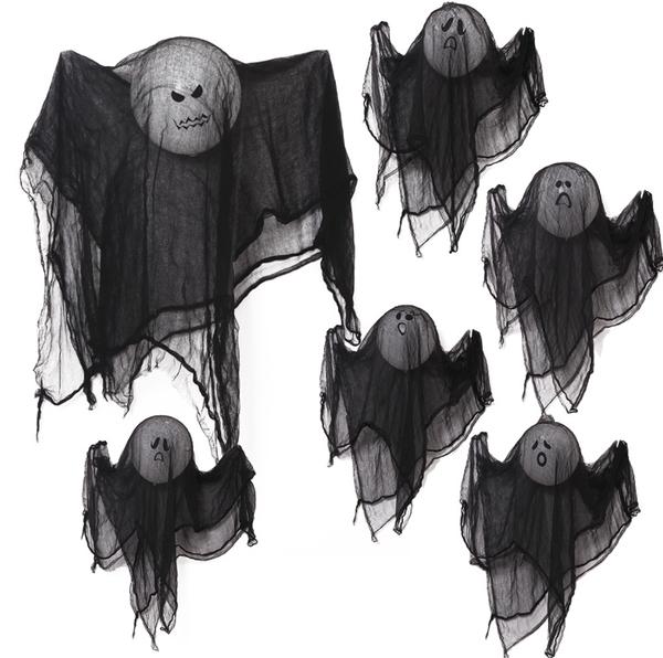 骷顱表情氣球 黑紗布幽靈裝飾 萬聖節 場地布置 萬聖節裝飾 活動派對 活動 派對 橘魔法 現貨 PARTY