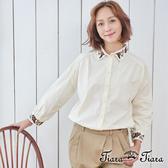 【Tiara Tiara】漢神獨有 刺繡領花純棉長袖襯衫(米/黑)