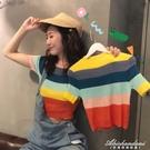2020新款韓版彩虹條紋短袖T恤女針織打底衫修身短款露臍上衣 黛尼時尚精品