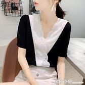 雪紡襯衫短袖女裝夏裝2021年新款潮夏季時尚氣質上衣蕾絲小衫洋氣 蘇菲小店