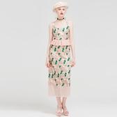 荷葉邊無袖上衣+長裙(兩件套)-優雅氣質拼接繡花女裙裝73lk29【巴黎精品】
