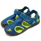 adidas 涼鞋 Captain Toey K 藍 綠 魔鬼氈 涼拖鞋 拖鞋 童鞋 中童鞋【PUMP306】 CM7639