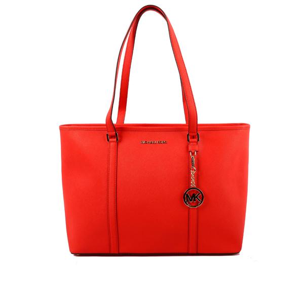 【MICHAEL KORS】素面PVC皮革肩背/手提購物包(紅色)35T7GD4T7L SIENNA