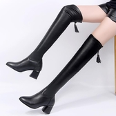 2019秋冬季新款韓版過膝長筒靴女過膝高跟加絨彈力百搭顯瘦長靴女 滿天星