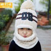 秋冬季寶寶帽子可愛女童男童加絨防風兒童圍脖一體保暖套頭帽 潮
