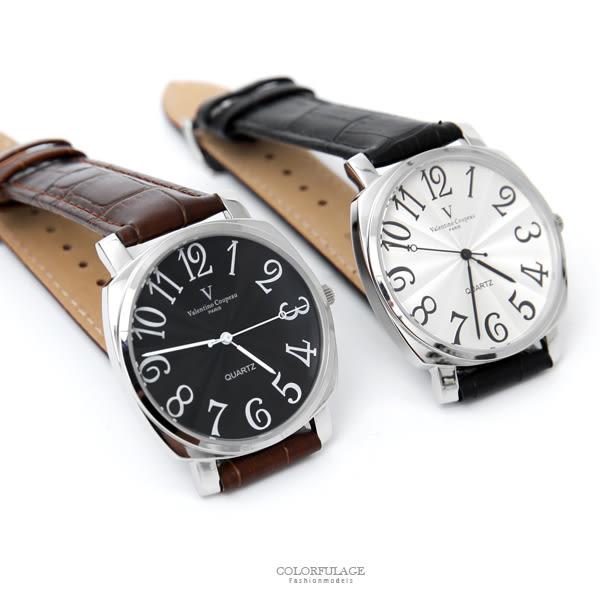 范倫鐵諾˙古柏 數字皮革手錶【NEV57】原廠公司貨