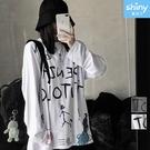 【V3172】shiny藍格子-入秋街潮 ‧ 趣味塗鴉寬鬆長袖上衣