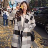 黑白格子毛呢外套女2018秋冬新款中長款韓版學生寬松顯瘦呢子大衣「爆米花」