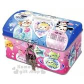 〔小禮堂〕迪士尼TsumTsum 方形鐵製存錢筒附鎖《粉藍汽球》撲滿儲金筒精緻盒裝4935124 50548