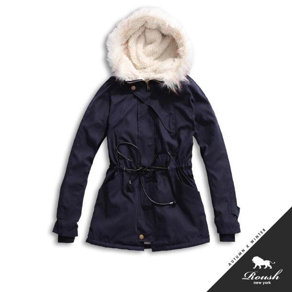 【Roush】女生羔羊毛鋪棉毛帽軍裝大衣 - 【51157】