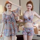 快速出貨-泳衣女三件套韓國溫泉小香風比基尼分體裙式平角保守小胸聚攏泳裝 萬聖節