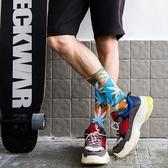 雙裝扎染麻葉襪子男女全棉中筒襪歐美街頭潮流楓葉襪子四季款凱斯盾數位c
