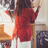 上衣 RCha。露肩交叉綁帶針織長袖上衣-Ruby s 露比午茶