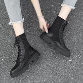 襪靴 馬丁靴女ins秋季2019春秋新款襪靴百搭英倫風帥氣機車短靴子