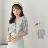 方塊格紋澎袖排釦棉麻上衣-BAi白媽媽【310327】