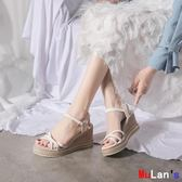 楔形涼鞋 坡跟涼鞋 一字帶 羅馬鞋 厚底 女鞋