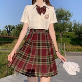 山楂樹jk制服裙正版現貨格裙套裝學生學院風格子百褶裙女 【端午節特惠】