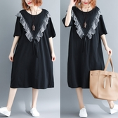 中袖洋装 夏季新款減齡木耳邊格子拼接寬鬆遮肚子粗腰中長款系帶中袖洋裝 Korea時尚記