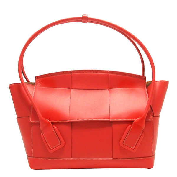 BOTTEGA VENETA 寶緹嘉 紅色編織小牛皮手提包 Medium Arco Top Handle Bag BRAND OFF