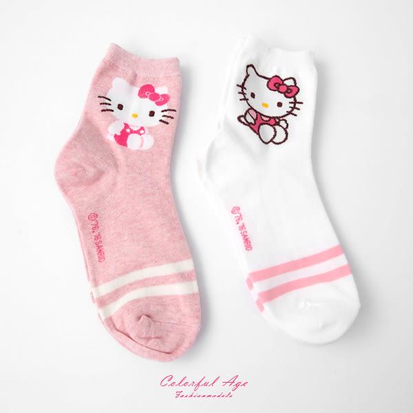 襪子 HELLO KITTY條紋女款長襪 柒彩年代【NRS20】