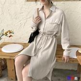 【貝貝】長版襯衫 韓版 顯瘦 慵懶風 抽繩 中長款 襯衫裙 雙口袋 長袖襯衣