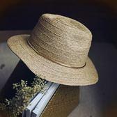 草帽-手工編織爵士帽時尚簡約百搭休閒女遮陽帽73si57[巴黎精品]