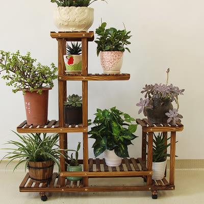 加輪可移動花架陽臺多層實木客廳花架子簡約植物架多肉架室內 全館限時八八折