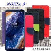 【愛瘋潮】諾基亞 Nokia 9 經典書本雙色磁釦側翻可站立皮套 手機殼
