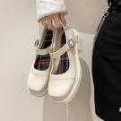 粗跟鞋 白色小皮鞋女英倫風2021年春季百搭復古鞋子女文藝粗跟瑪麗珍單鞋
